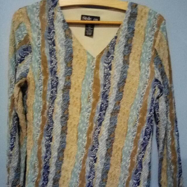 Blue and Brown 3/4 Top