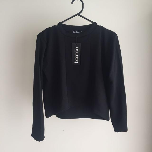 BOOHOO Panelled Black Crop Top