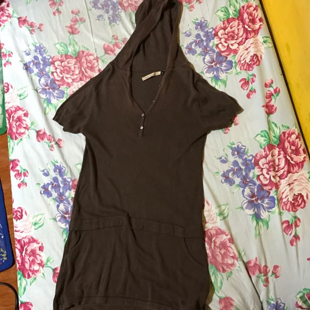 Brown Long Hoodie Blouse(no Sf)