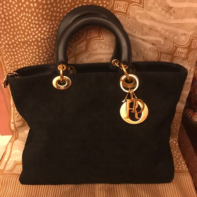 CHRISTIAN DIOR SUEDE LARGE LADY DIOR