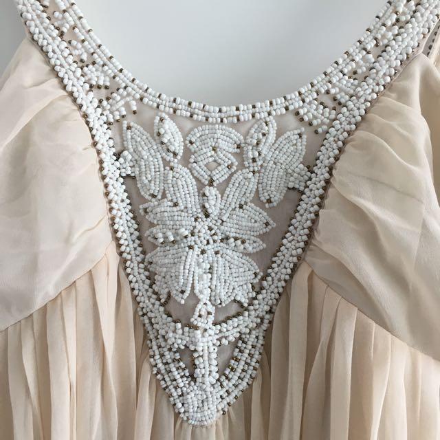 Cream Beaded Floor Length Dress Size 10/12