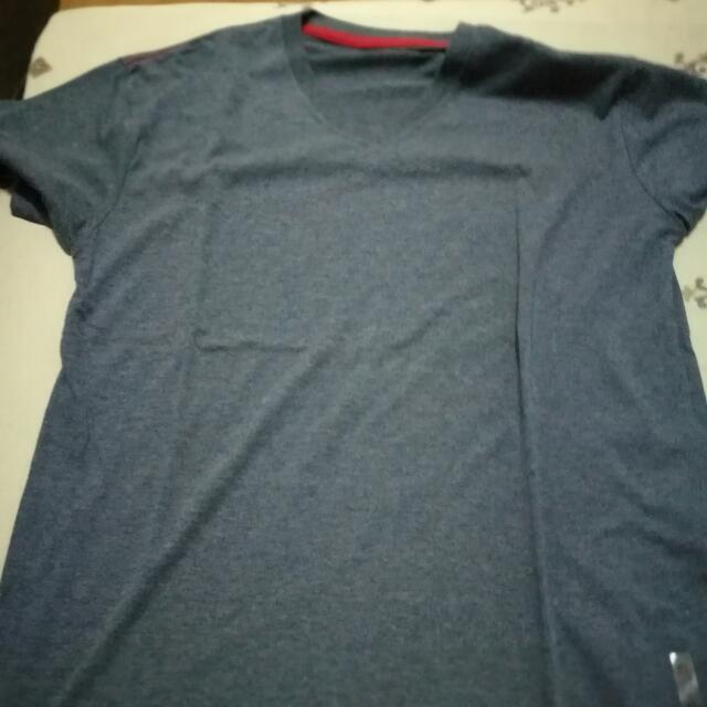 Dark Blue Plain V-Neck Shirt