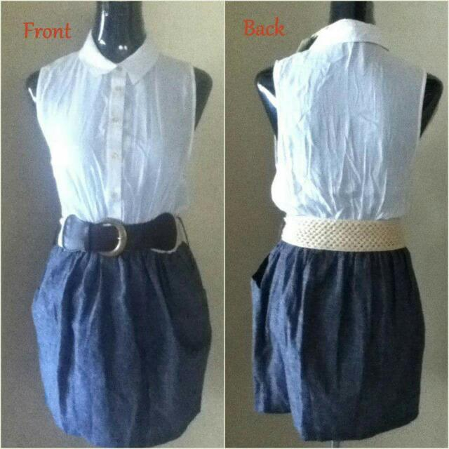 Collared top belted dress Large