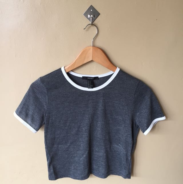 F21 Gray Cropped Top