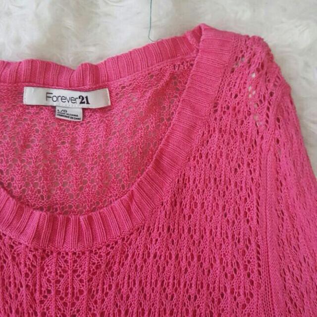 F21 Pink Knit Sweater (Free Ongkir Jabodetabek)