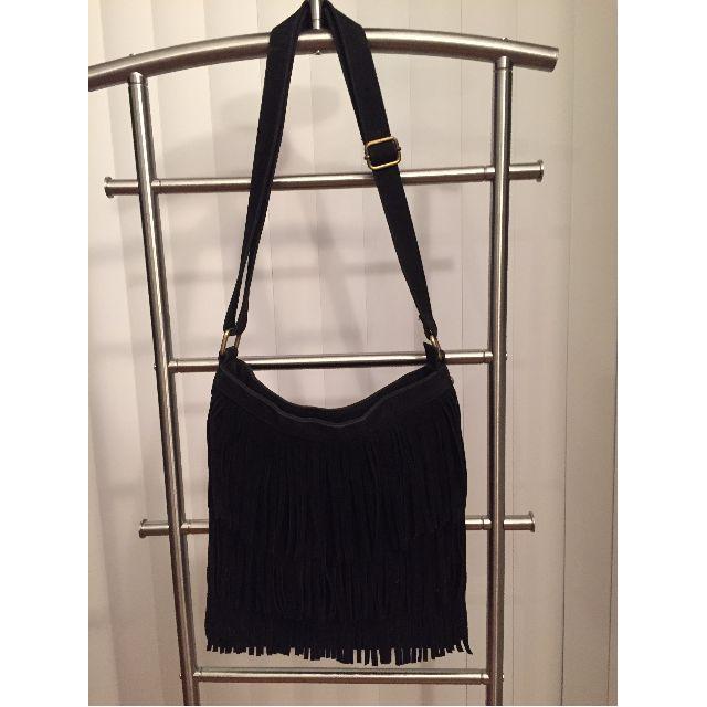 Fringe shoulder or crossbody purse bag (BLACK with Gold Hardware)