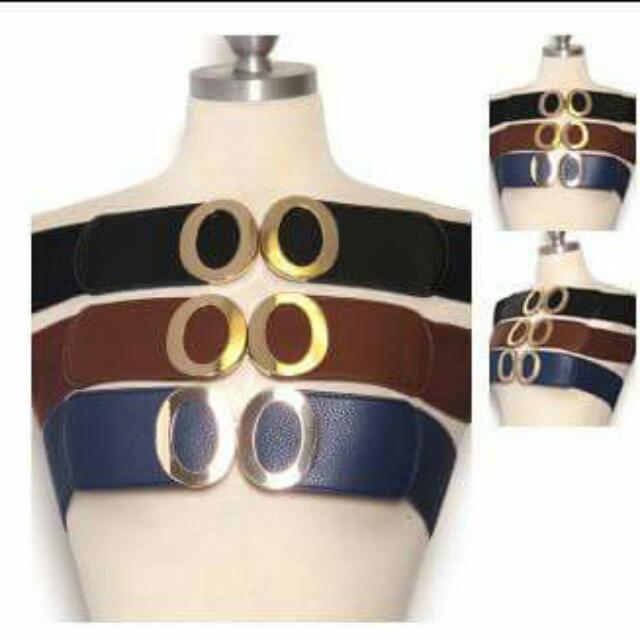 Gold Circle wide belt Blue