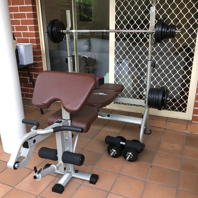 gym bench with weights