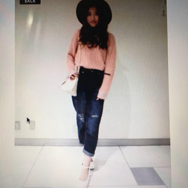 日本品牌heather粉色棉花糖針織毛衣