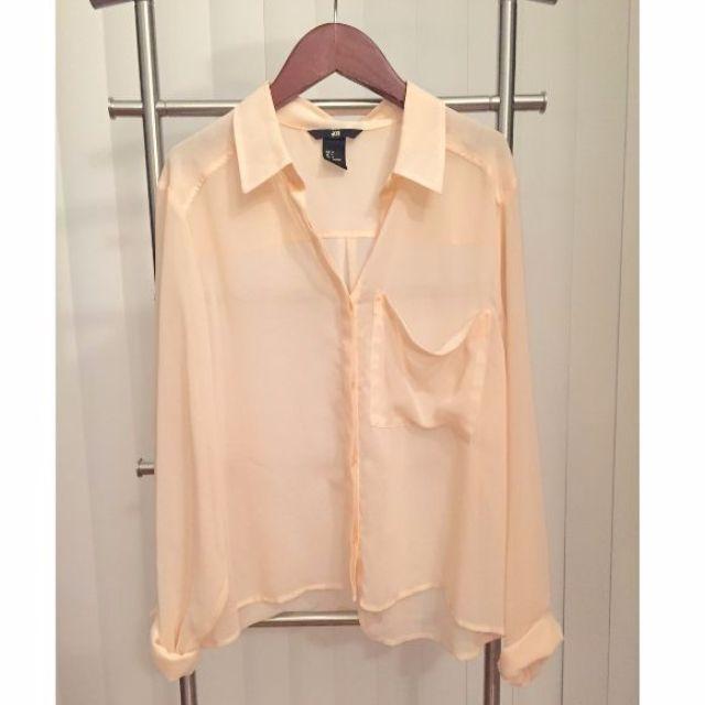 H&M Sheer Chiffon Boxy Button-up Shirt (PINK, SIZE 4)