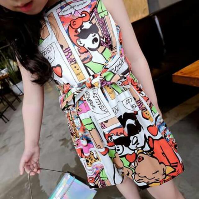 Kid's Wear Silky Chiffon 3D Print Cute Dress with Free Belt