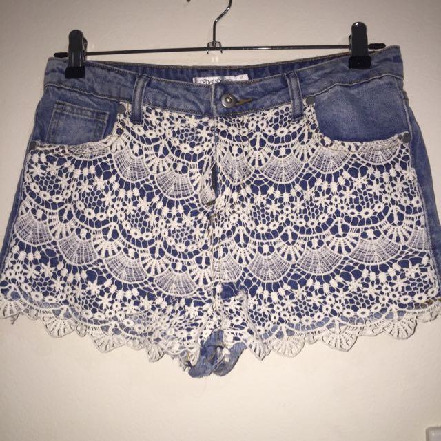 Lace Demin Shorts (size 10)