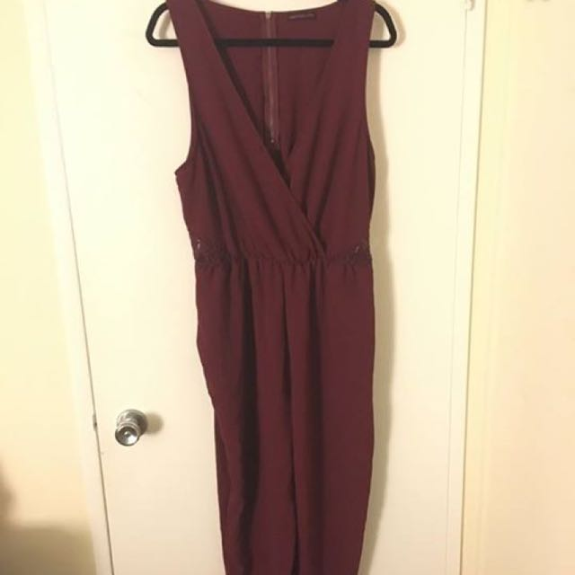 Material Girl Burgundy Playsuit