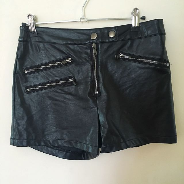 Mink Leather High Waisted Shorts