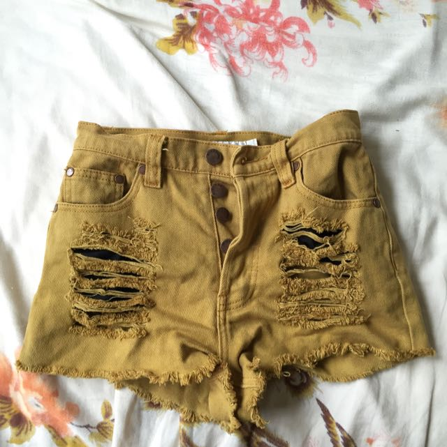 Mink Pink Distressed Mustard Denim Shorts