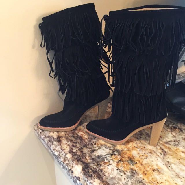 MK  Suede Fringe Boots Sz.8.5
