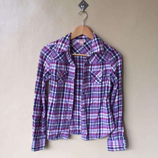 Mossimo Purple Plaid Longsleeves