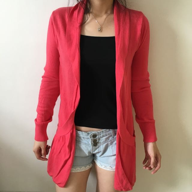 Ninety Degrees Pink Long Cardigan
