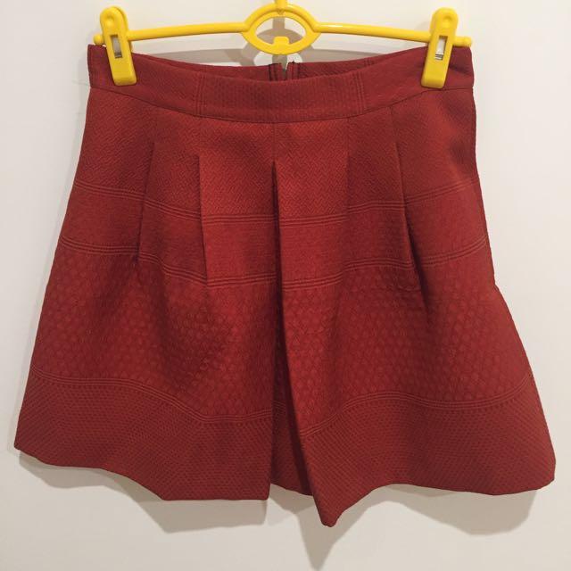 Ochre Burnt Orange Pleated Mini Skirt Sz 10