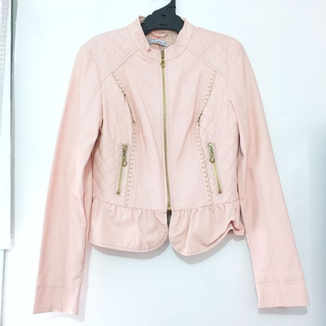 Pastel Pink Pleather Faux Leather Lace Jacket