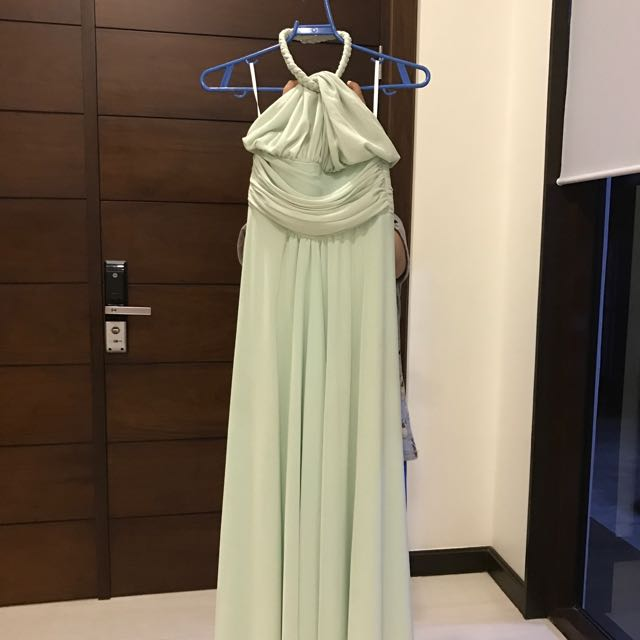 Preloved Light Green Halter top long Gown