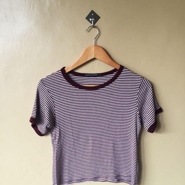 Purple & White Semi-Cropped Top