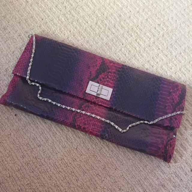 Purple Clutch With Detachable Chain