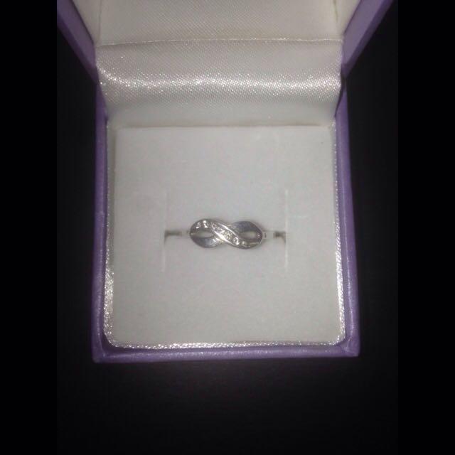 Silver Diamond Infinity Ring