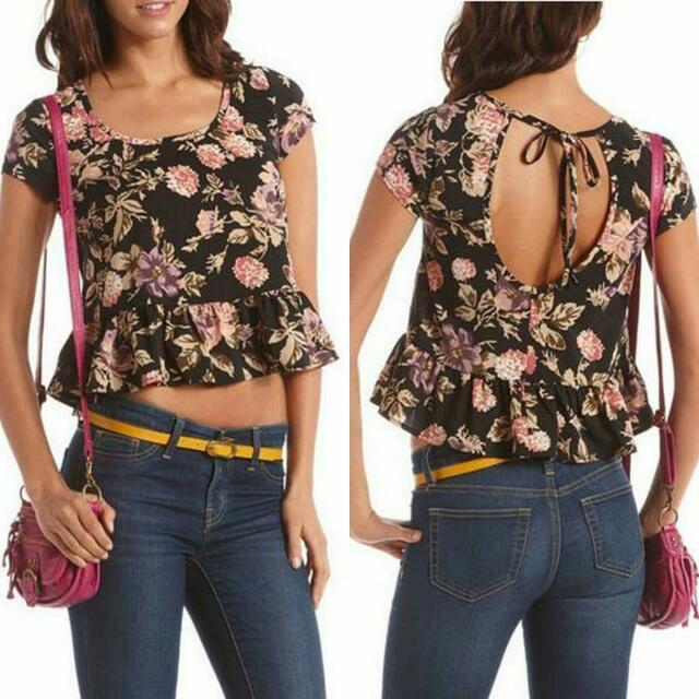 Tie back floral babydoll top Medium