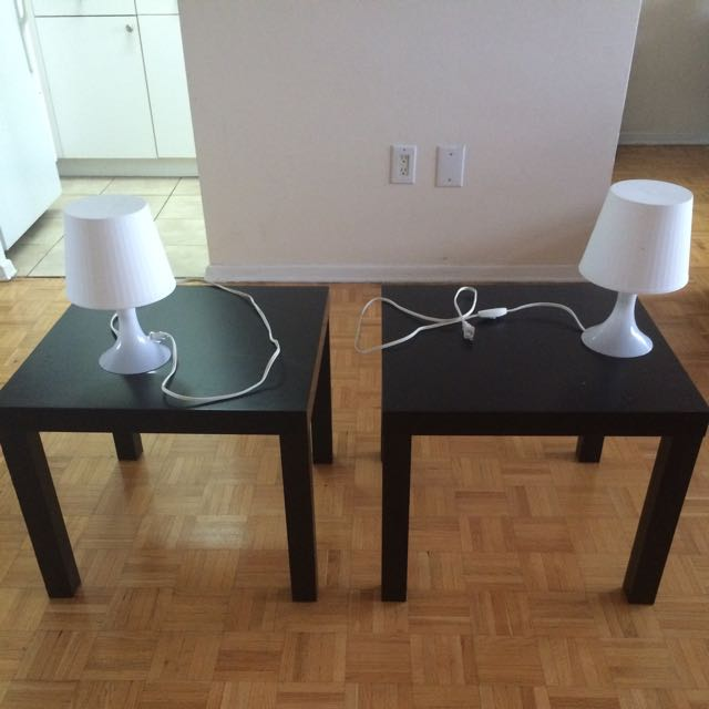 Two Black Side tables And Matching Lamps