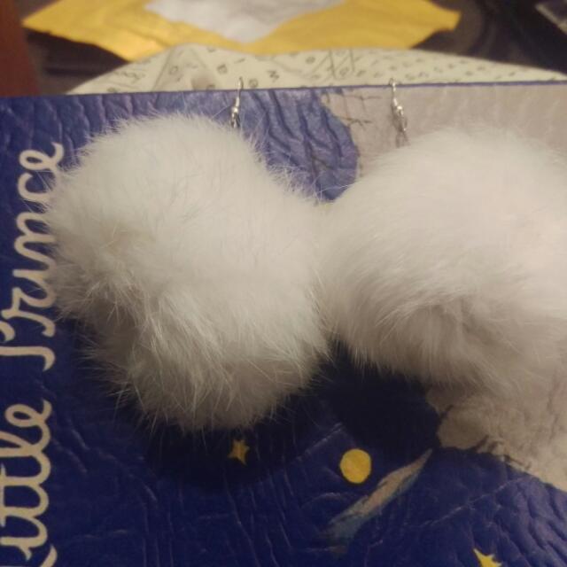 White Fluffy Earrings!