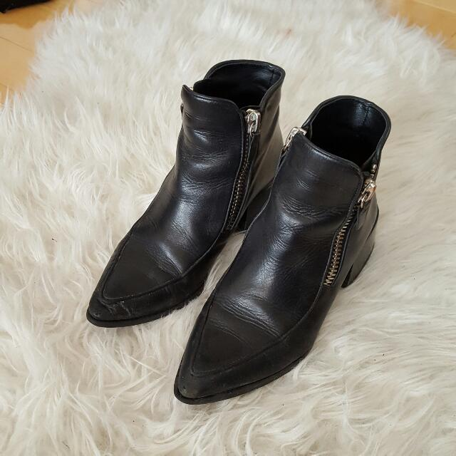 Zara Real Leather Zip Fashion Booties
