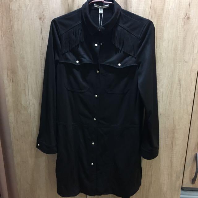 ✨全新✨ZARA TRF 波西米亞麂皮流蘇長版外套