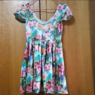 Water Colour Floral Babydoll Dress