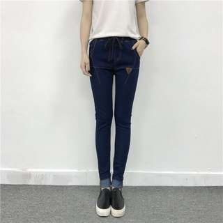 TM6169 特殊縫線鬆緊帶牛仔褲 S-L