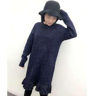 TM9597 混紗厚實魚尾裙襬毛衣連衣裙 二色
