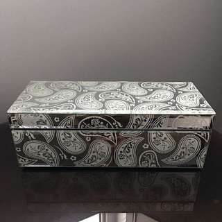 Glass Jewelry Box - White Paisley