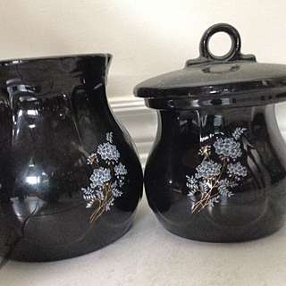 2 Black Ceramic Canisters