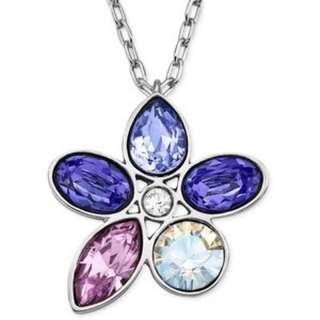 SWAROVSKI Rhodium-plated Purple Crystal Flower Necklace