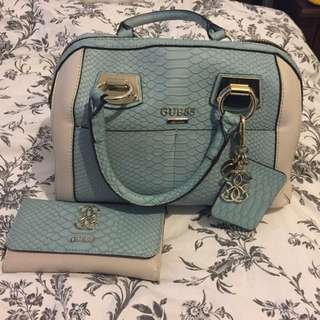 Matching GUESS Blue Snakeskin Purse And Wallet
