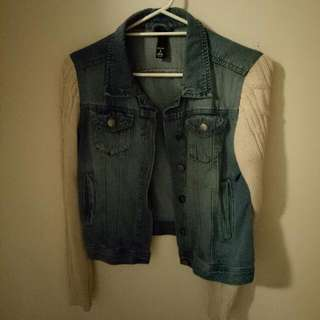 Size S Denim Jacket With Wool Sleeves