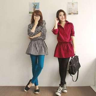 FD9148624韓版新款 時尚格仔印花 半開衫裙擺式休閑襯衫