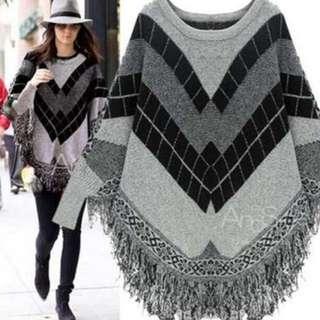 歐美爆款蝙蝠袖流蘇斗篷針織毛衣 (170)