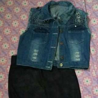 Denim Jacket + Leather Like Skirt (Perfect For GLAM Rock Theme)