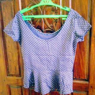 Polkadot Violet Cropped Top