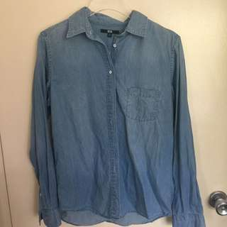 Uniqlo Size M Blue Shirt New Without tags