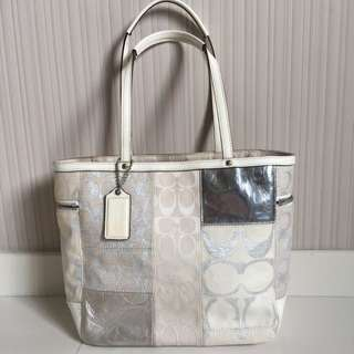 - PRE OWNED - Coach Silver Patchwork Tote