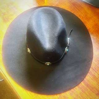 Brand New Black Hat With Blue Stoned Belt