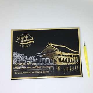 LAGO 手刮城市金色夜景明信片組 (4入附刮棒)