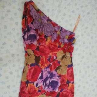 One Shoulder Flowery Dress